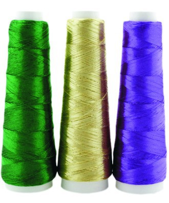 1000 metres Cone Metallic Thread 'FINCA' 1 ply and 2 ply