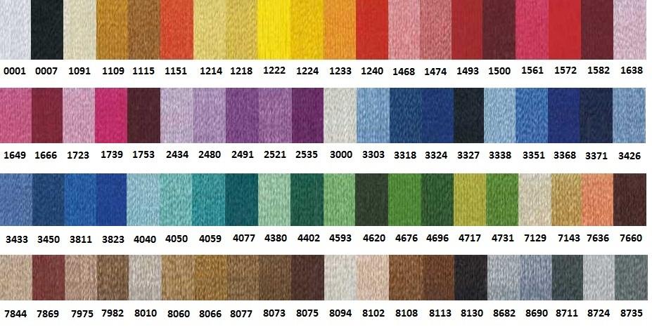 Referencia Colores Rayon para Bordar